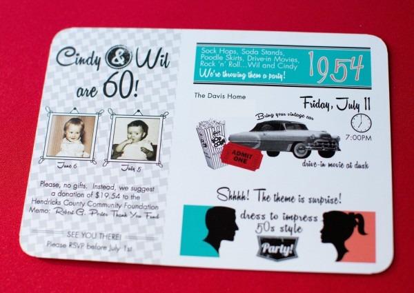 50s Theme Party Invitations