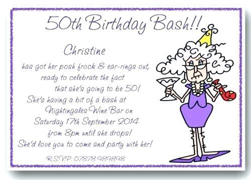 50th Birthday Invitation Wording Sample Birthday Invitation