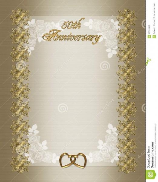 50th Wedding Anniversary Invitation Template Stock Illustration