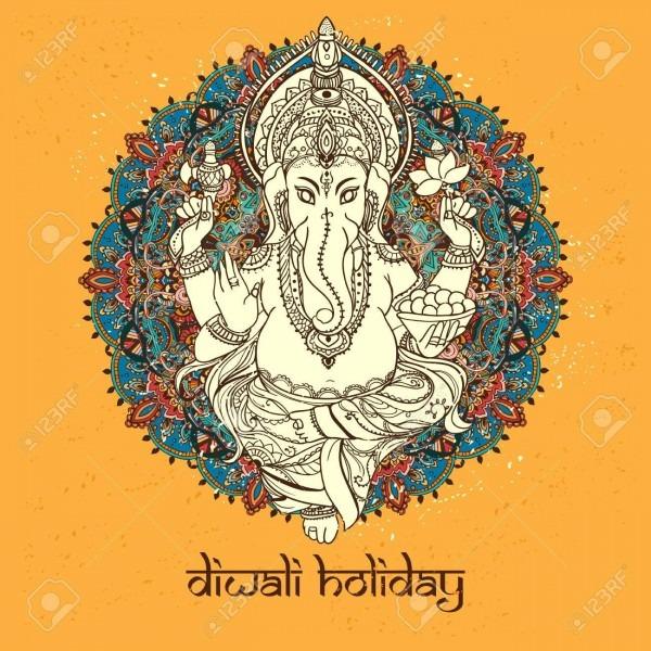 Ornament God Ganesha  Invitation Cards Dawali Holiday  Perfect