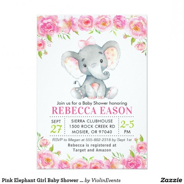 Elephant Pink Floral Baby Girl Shower Sprinkle Invitation In 2018