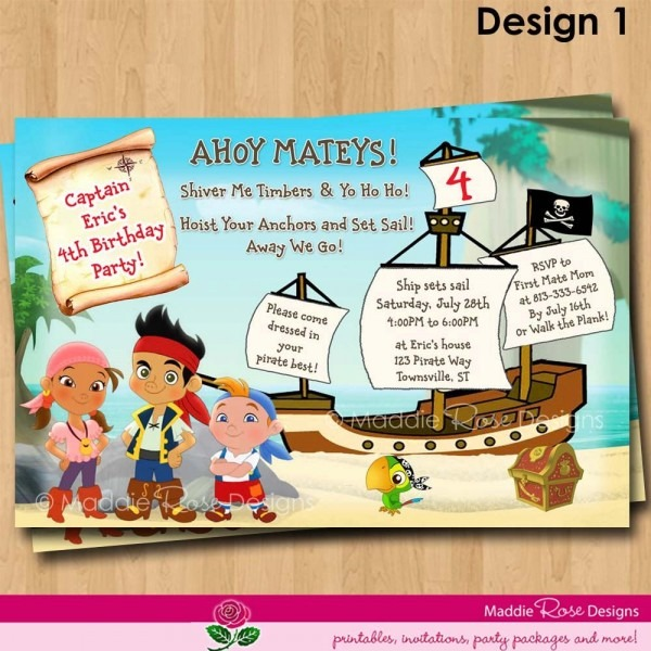 Jake And The Neverland Pirates Invitations Printable, Birthday