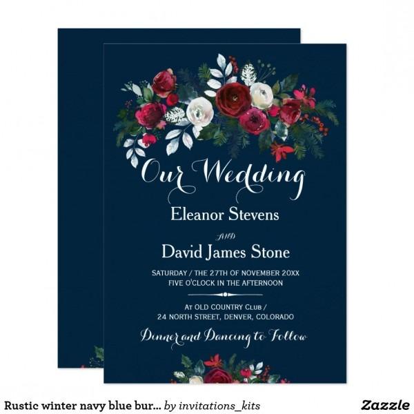 Rustic Winter Navy Blue Burgundy Floral Wedding Invitation In 2018