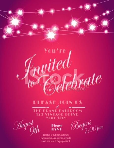Generic Lights Invitation Design Template With String Lights Stock