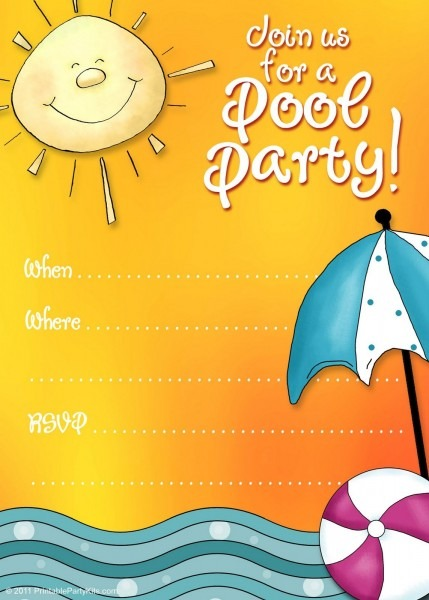 Free Printable Party Invitations  Summer Pool Party Invites