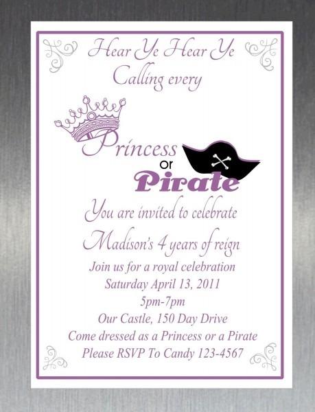 Printable Diy Princess And Pirate Party Invitation  $10 00, Via