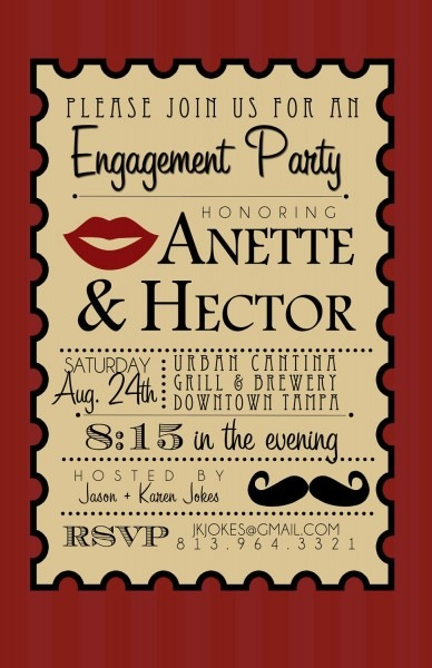 Mustache And Lips Engagement Party Invite  $15 00, Via Etsy