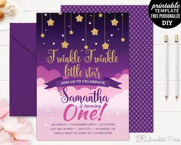 Twinkle Little Star Birthday Invitation Template  Twinkle Twinkle