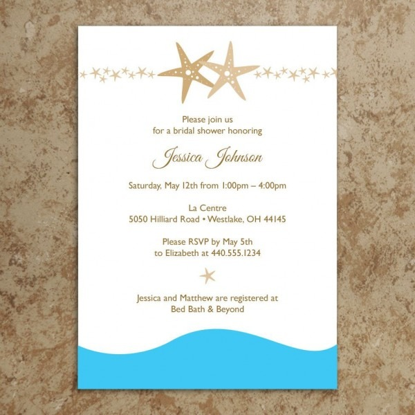 Beach Bridal Shower Invitation   Starfish By Designswithstyle