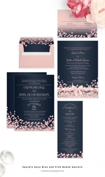Navy Blue And Pink Modern Wedding Invitations With Bokeh Inspired