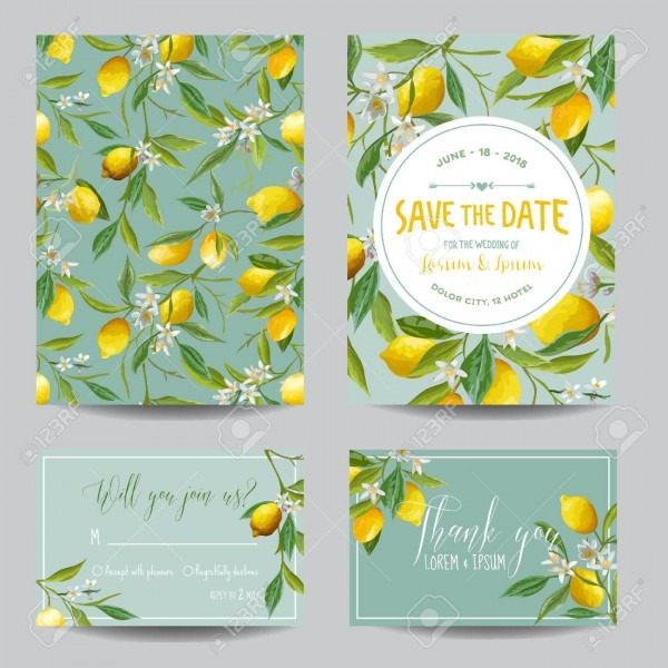 Save The Date Card  Lemon, Leaves And Flowers  Wedding Card