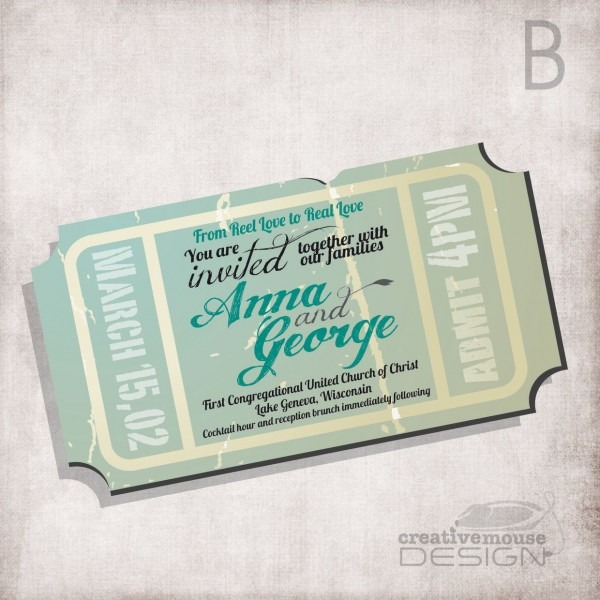 Wedding Invitation Movie Ticket   Bridal Invitation  Birthday