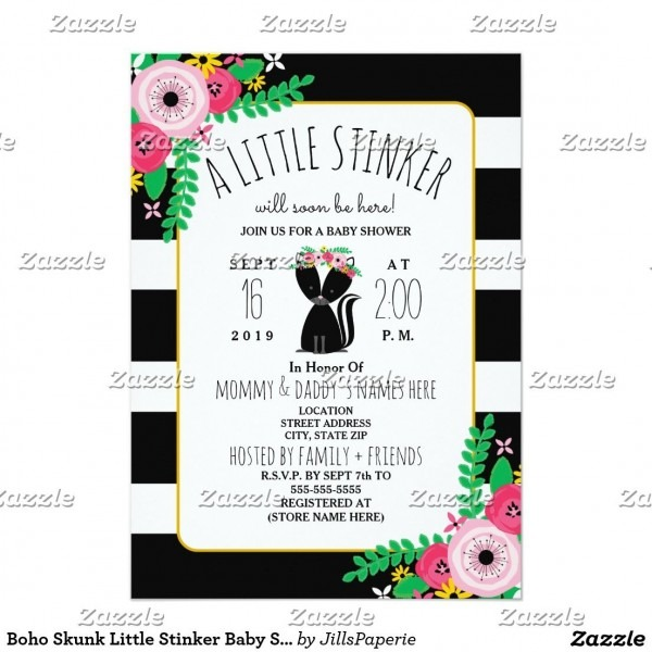 Boho Skunk Little Stinker Baby Shower Invitation