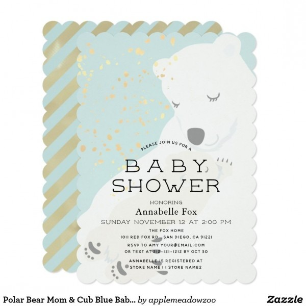 Polar Bear Mom & Cub Blue Baby Shower Invitation In 2018