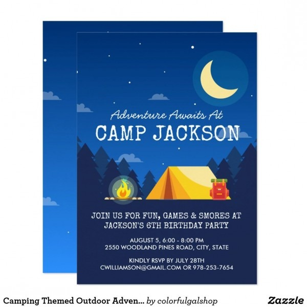 Camping Themed Outdoor Adventure Birthday Party Invitation