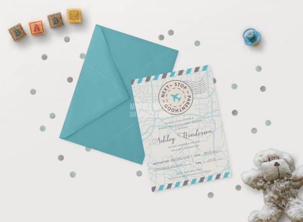 Around The World Baby Shower Invitation  World Map Baby Shower