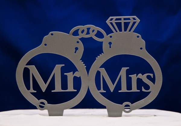 Handcuffs Mr  & Mrs  Wedding Cake Topper