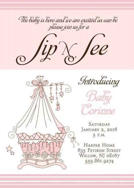 Sip And See Invitation Printable Digital File