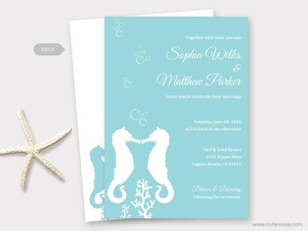 Beach Wedding Invitation Printable, Seahorse Wedding, Destination