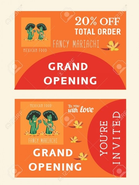 Set Of Templates For Mexican Restaurant  Grand Opening Afvertising