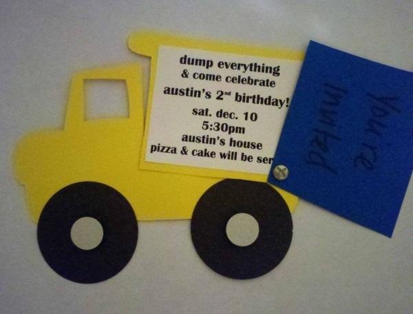 Dump Truck Handmade Invitation By Projectsbyaffton On Etsy, $35 00