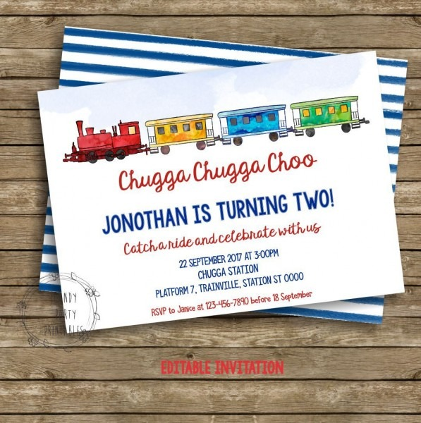 Train Birthday Invitation, Train Birthday Party, Printable Train