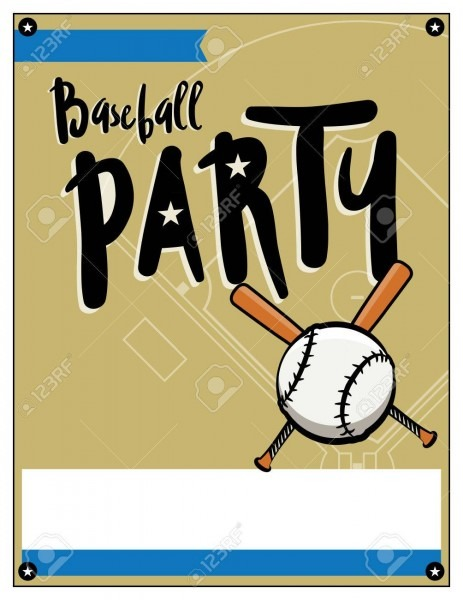 A Blank Baseball Themed Party Invitation Template  Royalty Free