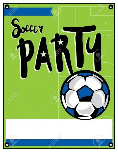 A Blank Soccer Party Theme Invitation Template  Royalty Free