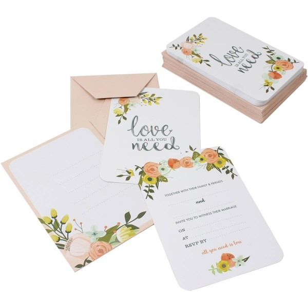 All You Need Is Love Wedding Invitations And Envelopes 25 Pack