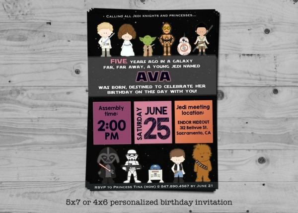 Star Wars Birthday Invitation For Girls