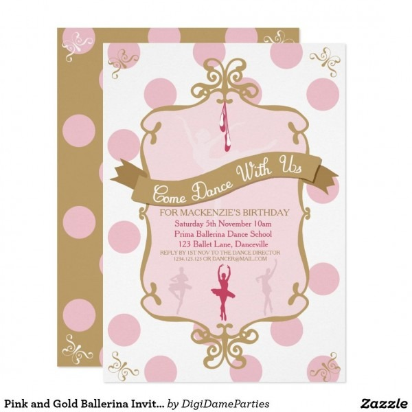 Pink And Gold Ballerina Invitation Template