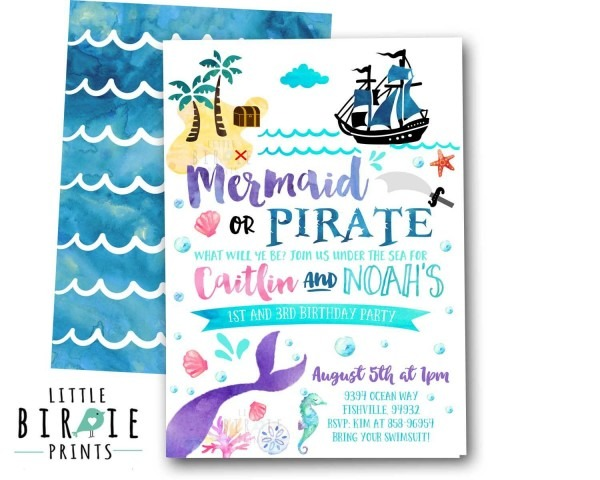 Mermaid Pirate Invitation Mermaid And Pirate By Littlebirdieprints