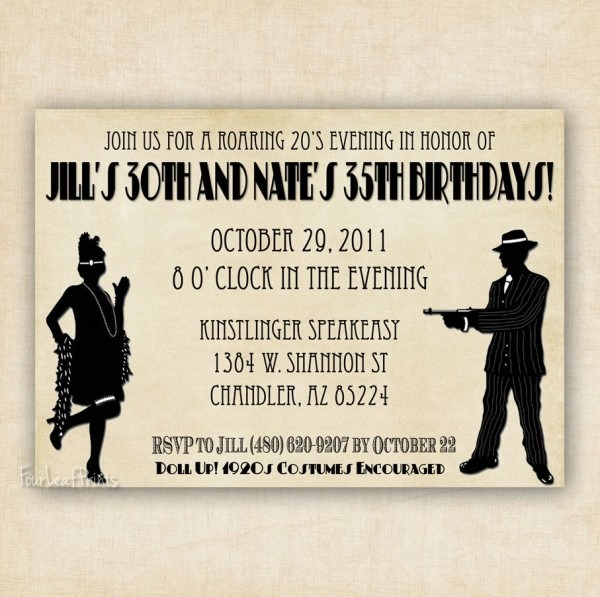 Roaring 1920's Flapper And Gangter Birthday Invitation