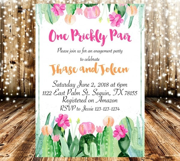 One Prickly Pair Floral Cactus Couples Engagement Party Invite