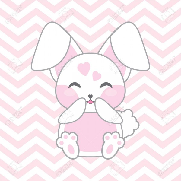 Baby Shower Illustration With Cute Pink Rabbit On Chevron