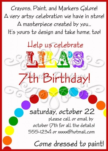 Art Themed Birthday Party Invitations