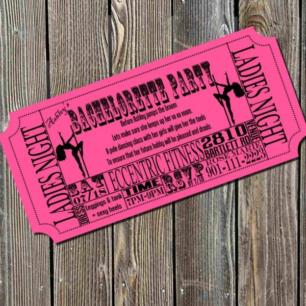 Pole Dancing Bachelorette Party Ticket Invitation  $10 00, Via