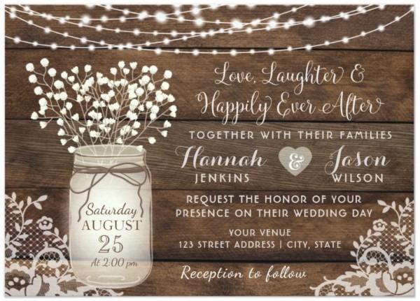 Rustic Wood Lace Wedding Invitation, Mason Jar Invitation In 2018