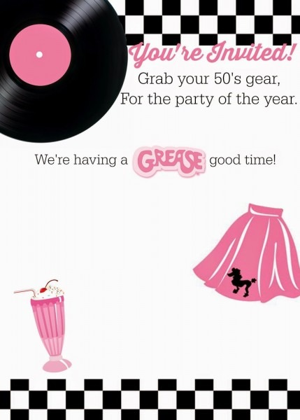 Free 50's Grease Theme Invitation With Instructions To Personalize