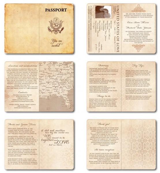 Wedding Invitation Passport Printable Template