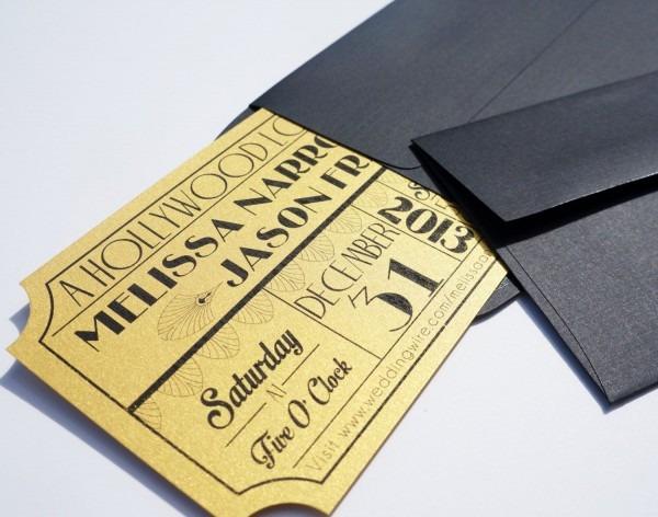 Old Hollywood, Art Deco, Gold Movie Ticket Wedding Invitation