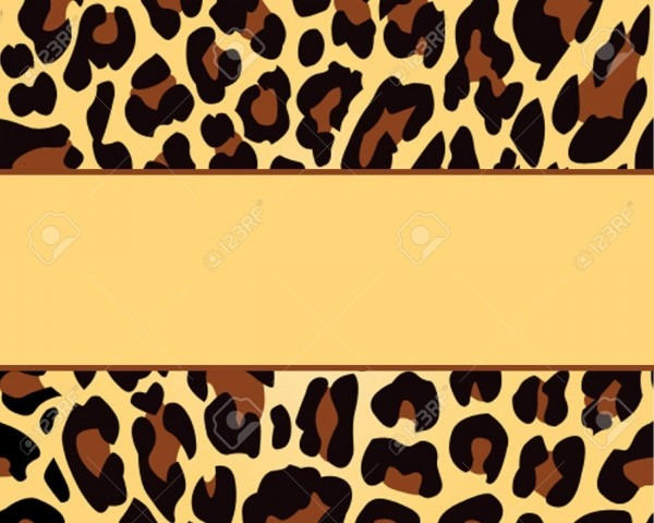 Leopard Print Background Template Stock Photo, Picture And Royalty
