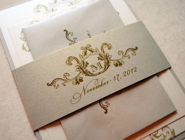 Ivory, Champagne And Gold Wedding Invitations
