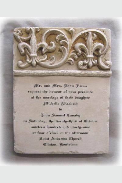 Custom Wedding Invitation Stone Plaque Double Fleur De Lis Short