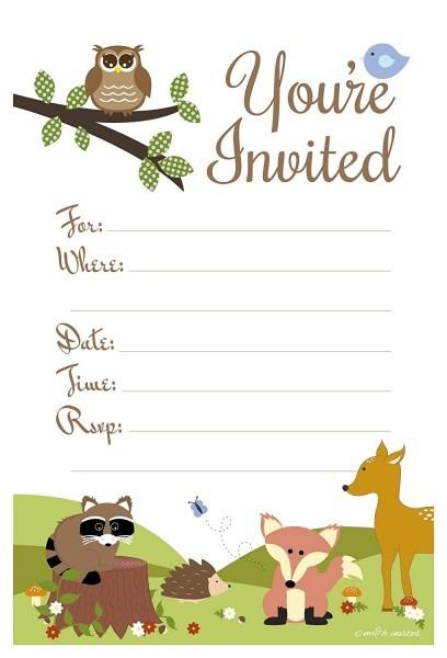 Woodland Animals Baby Shower Or Birthday Invitations