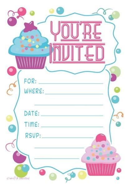 Amazon Com  Cupcake Theme Birthday Party Invitations