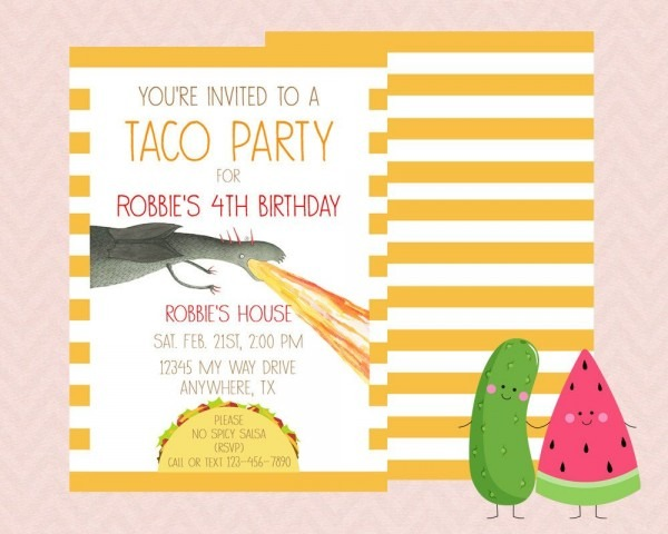 Inspired Dragons Love Tacos Invitation