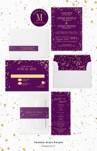 Twinkle Stars Light Effect Sparkle Wedding Invitation In Gold And