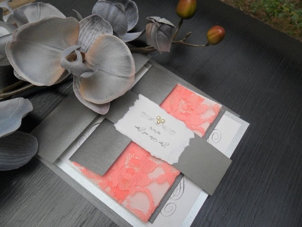 Could Be Ordered In Gold & Peach!lace Wedding Invitation