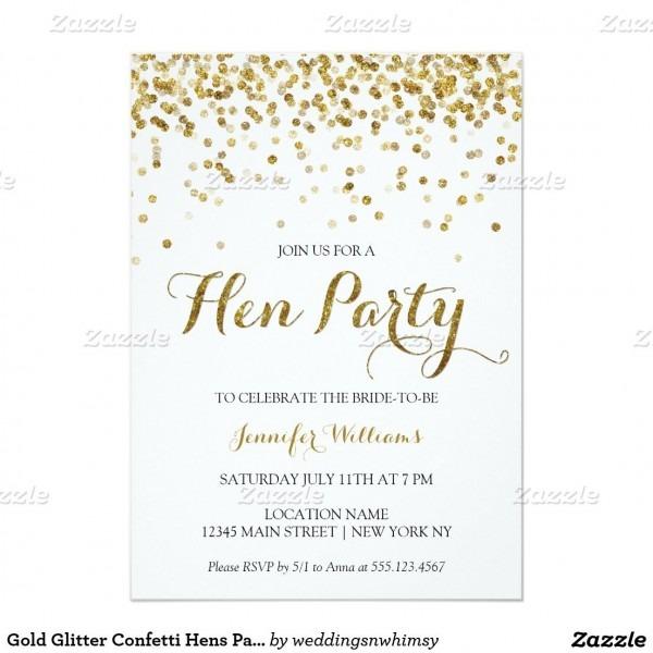 Gold Glitter Confetti Hens Party Invite In 2018